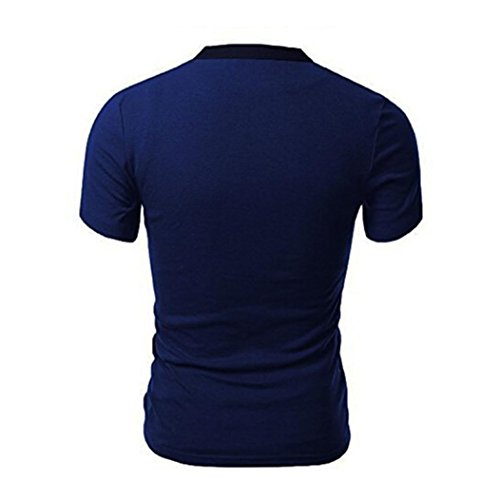 Adeshop T Splice Estate manica Sportswear 2018 Blu da V scollo Slim a Top stile Nuovo corta shirt Fashion Button Pure Shirt Top casual uomo elasticità Colour r5wqrv