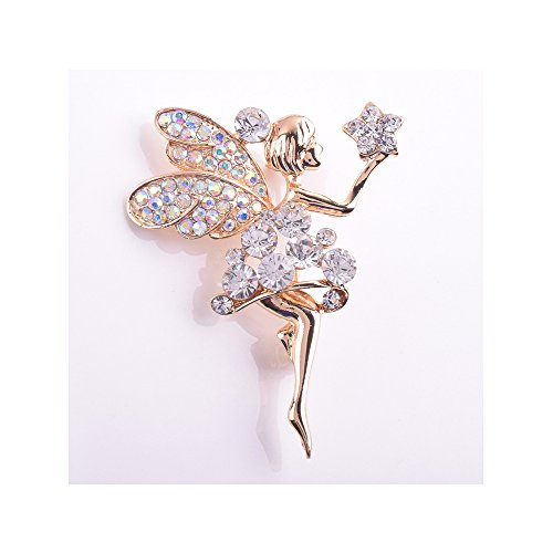 Winter's Secret Reach for Star Lovely Angle Girl Brooch Diamond Accented Fashion Accessory