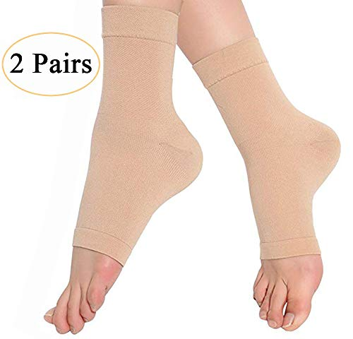 Medical Compression Ankle Brace (2 Pairs), TOPSOW Breathable Pain Relief Ankle Support Sleeve for Unisex Ankle Swelling, Achilles Tendonitis, Plantar Fasciitis and Sprain (Nude, Small)