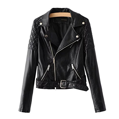 Women Coat Zip Baymate Lapel Leather Motorcycle Turn Black Jacket Collar Short Casual Down Outwear Faux Autumn dqO8qf