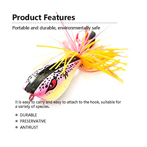 SGQCAR 4 Pack Fly Fishing Poppers Lures for Bass Panfish Flies Topwater Popper for Crappie Bluegill Kit - Bass Sporting Goods
