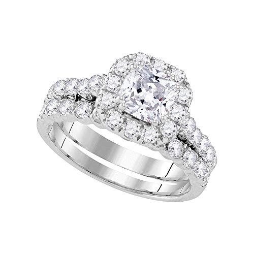 Jewel Tie Size - 5-14k White Gold Cushion Diamond Bridal Solitaire Halo Engagement Ring Wedding Band Set (2.0 cttw.)