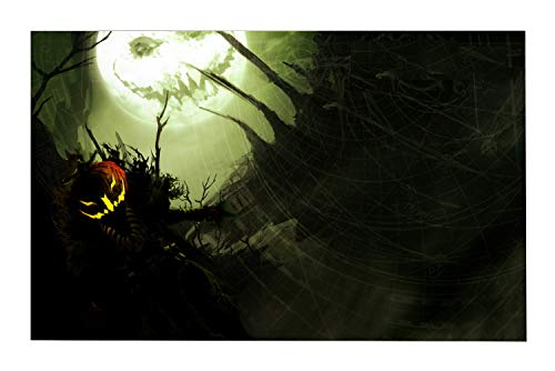 JANNINSE Orange Pumpkin Evil Smile Black Night Forest Spider Web Moon Small Door Mat, Natural Coir Fiber, 18X30 Inlet Outdoor Door Mat, Machine Washable Carpet ()