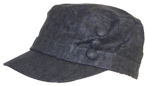 Tropic Hats Women's Tweed Military Cadet 3 Button Hat W/Floral Lining (One Size) - Black