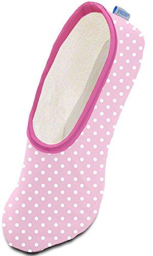 Snoozies Womens Skinnies Slippers Lightweight Cozy Footcoverings,Medium,Pink Polka