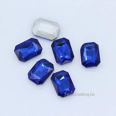 FidgetGear 12p 27x18MM Color Point Foiled Back Crystal Rhinestone Glass Octagon Jewel Stone Sapphire