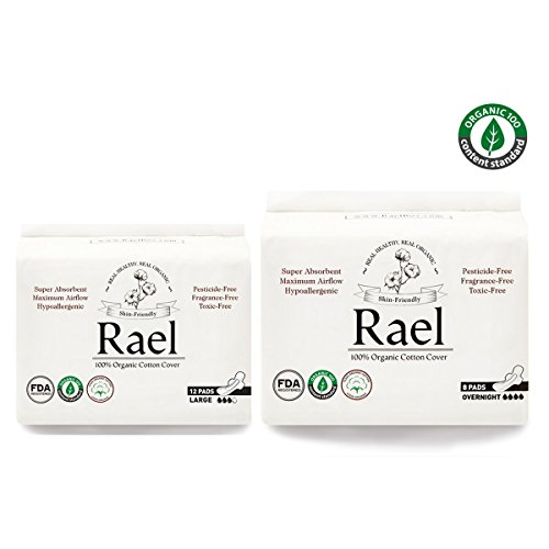 Rael Organic Cotton Sanitary Pads - Certified Organic Cotton Large Pads 1 Pack and Overnight Pads 1 Pack by Rael Variety Pack(2 Packs/ 20Total)