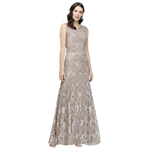 Sequin Lace Mermaid Mother of Bride/Groom Dress with Illusion Detail Style 3198, Taupe, 16