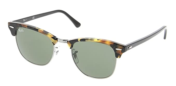 487f52707 Image Unavailable. Image not available for. Color: Ray Ban RB3016 1157 51  Spotted Black Havana/Green Clubmaster ...