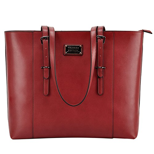 ZYSUN Laptop Bag, Fashion PU Leather Women Work Tote Fits up to 15.6 in Laptop with Multi-Compartment for Office (Red Womens Briefcase)