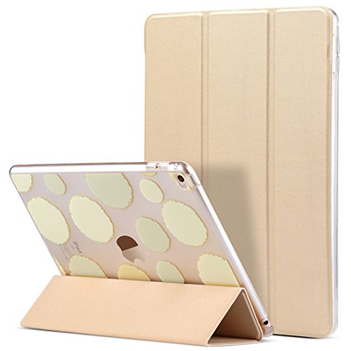 iPad Air 2 Case, ULAK [Polka Dot] Folio Slim Smart Case Cover with Trifold Stand and Magnetic Auto Wake & Sleep Function for iPad Air 2 / iPad 6th Generation (Champagne Gold) (Ulak Apple Ipad Air Case Gold)