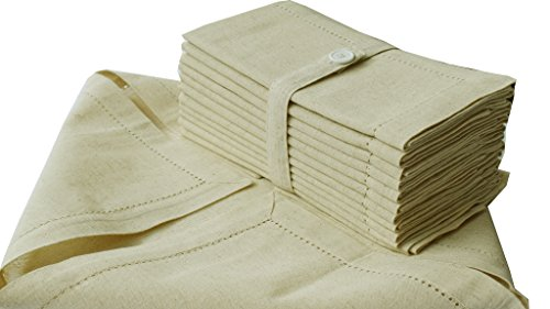 Cloth Napkin in Cotton Flax by Flax with Hemstitched, Natural Color, Oversized 20x20, Wedding Napkins,Cocktails Napkins,Mitered Corners & Generous Hem, Machine Washable Dinner Napkins Set of 12 by Cotton Clinic (Image #2)