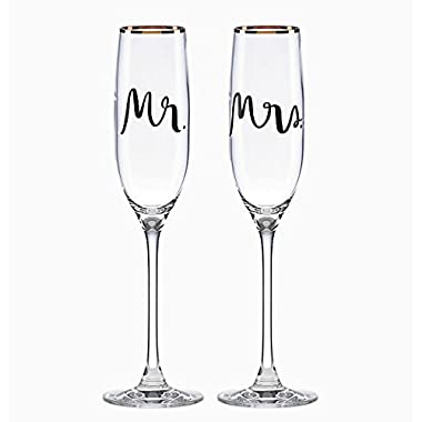 Kate Spade New York Bridal Party Mr and Mrs Champagne Toasting Flute Pair, Non-leaded Crystal