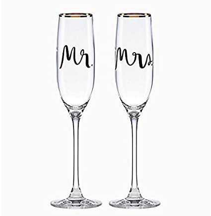 1d9892d0f62c Amazon.com | Kate Spade New York Bridal Party Mr and Mrs Champagne Toasting  Flute Pair, Non-leaded Crystal: Champagne Glasses