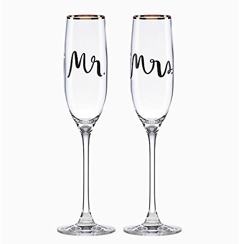 Wedding Party Toasting Flute - Kate Spade New York Bridal Party Mr and Mrs Champagne Toasting Flute Pair, Non-leaded Crystal