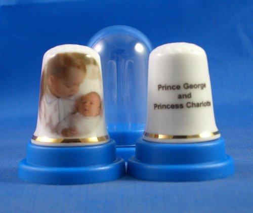 Ditale da collezione in porcellana cinese, motivo: principe George e principessa Charlotte Birchcroft China
