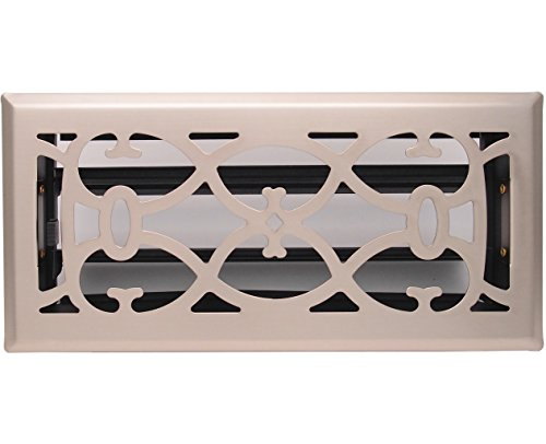 4' X 10' Nickel Victorian Floor Register Grille - Modern Contempo Decorative Grate - HVAC Vent Duct Cover - Brush Nickel