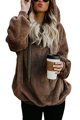 COCOLEGGINGS Ladys Fuzzy Sherpa Pullover Tops Fleece Hooded Sweatshirt Coffee M