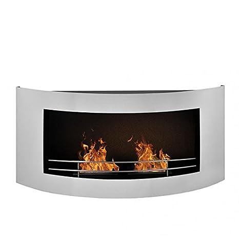 Chimenea Bioetanol de Pared en Acero Inoxidable, Diseño curvado, dos quemadores, llama regulable, larga duración de la combustión, elegante: Amazon.es: ...