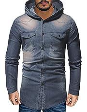 WXZZ Denim herenjack met capuchon | washed-look | slim fit | klassiek vrachtjeansjack | vrijetijdsjas overgangsjas trucker jas | maten S-XXL | 3 kleuren lichtblauw, zwart, grijs