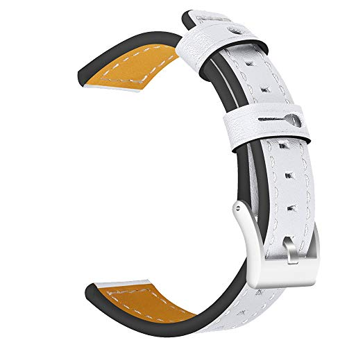 Insaneness Pure Colour Genuine Leather Band Wrist Strap for Samsung Galaxy Watch (White, 42MM)