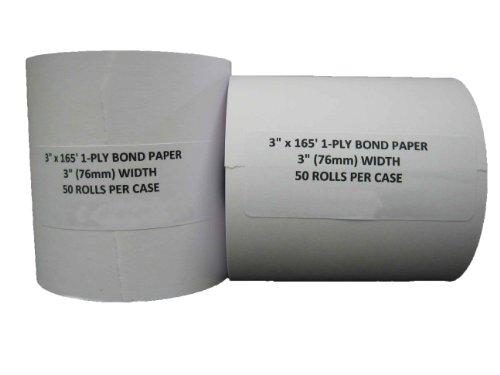 "3"" x 165' CASH REGISTER 1 PLY BOND PRINTER POS PAPER ROLL 50 ROLLS / CASE"
