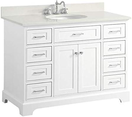 Aria 48-inch Bathroom Vanity Quartz White Includes White Cabinet with Stunning Quartz Countertop and White Ceramic Sink