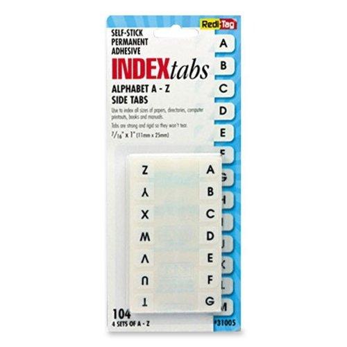 Redi-Tag Permanent Alphabetical Tab Indexes - 104 x Tab - PrintedA-Z - 104 / ...