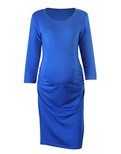 (Akivide 3/4 Sleeve Scoop Neck Pleated Maternity Dress for Women Blue M)