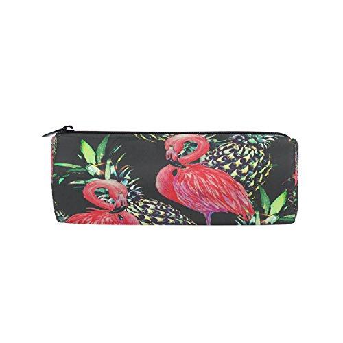 WOZO Pink Flamingo Bird Pineapple Pen Pencil Case Makeup Cosmetic Pouch Case Travel Bag -
