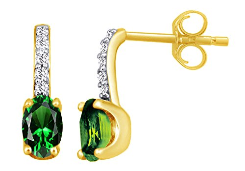Oval Cut Simulated Green Emerald With Accent Solitaire Drop Earrings In 10K Solid Yellow (10k Yg Emerald)