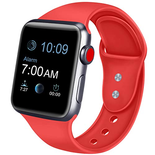 ATUP Sport Band Compatible with Apple Watch 38mm 40mm 42mm 44mm Women Men, Soft Silicone Replacement Bands for iWatch Apple Watch Series 4, Series 3, Series 2, Series 1 (Orange Red, 38mm/40mm-M/L)