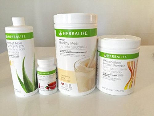 HERBALIFE Aloe tea shake protein QUICK COMBO - FORMULA 1 SHAKE MIX (Vanilla), PERSONALIZED PROTEIN, HERBAL ALOE (Mango), HERBAL TEA CONCENTRATE (Raspberry) by Herbalife