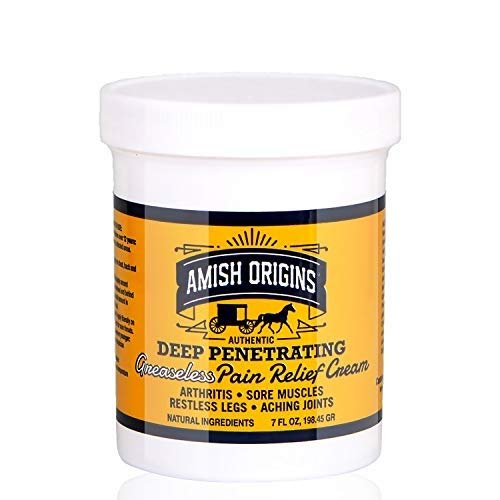 Amish Origins Deep Penetrating Pain Relief Cream (Greaseless) 7 oz - Medicated Pain Relief Cream, Quick Acting Pain Relief Formula, Perfect for Aching Joints, Arthritis, Restless Legs, Sore Muscles