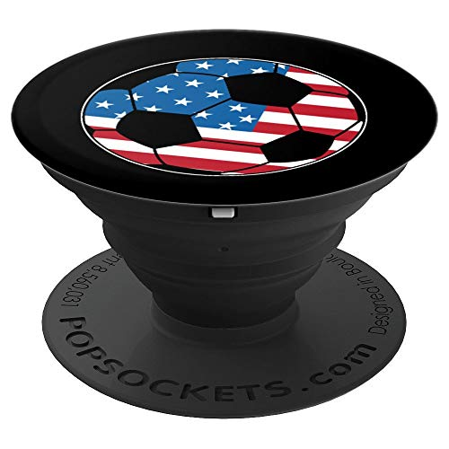 United States Soccer Ball USA Shirt Football Stars Stripes PopSockets Grip and Stand for Phones and Tablets ()