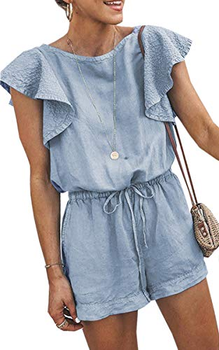 Angashion Women's Loose Casual Ruffle Cap Sleeve Short Jumpsuits Hollow Back Romper with Belt Blue S ()