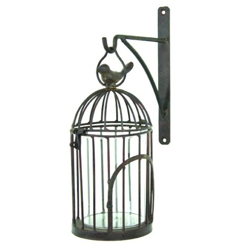 (Pillar Candle Holder, Hanging Metal Birdcage with Bracket, 12-inch, Distressed Primitive Wall Decor )