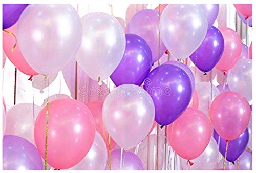 12 3.2 Helium Quality Pearl Latex Balloons - Dark Purple, Light Pink And White, 100 Count