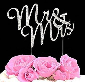 LuLu Sparkles LLC Crystal Rhinestone Bling Wedding Monogram Mr Mrs Cake Topper Wedding Cake Topper Bling Keepsake (1, Silver Clear) (Cheap Wedding Cake Toppers)
