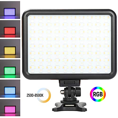 Dazzne 0-360 RGB LED Video Lights CRI 95+, 2500K-8500K Full Color On-Camera Video Light TLCI 97+, HSI 1-1530 Support 10 Scene Modes for YouTube DSLR Camera Camcorder Photo Lighting with Battery