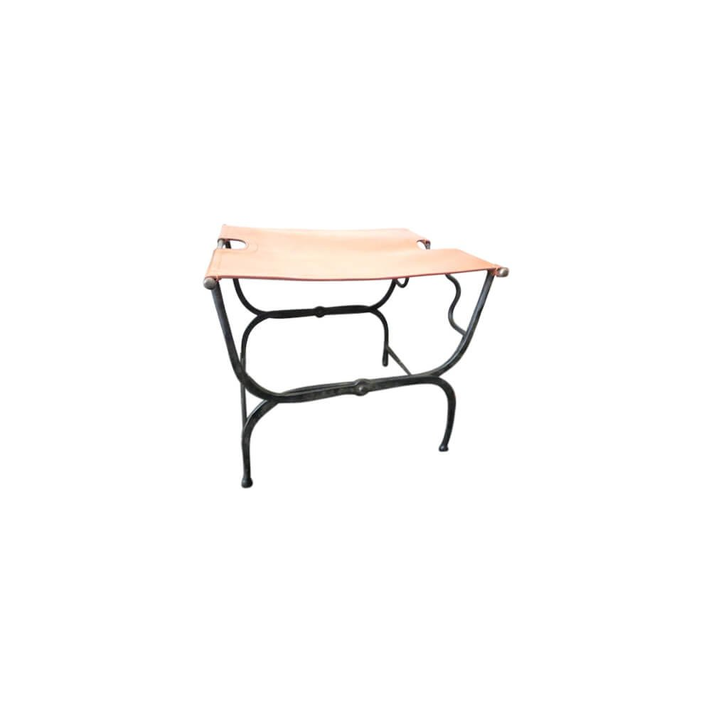 Armorvenue: Folding Iron Stool with Leather Seat by Armorvenue