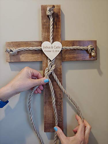 Personalized Laser Engraved Unity Ceremony Wood Cross]()