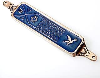 "product image for Mezuzah""Dove of Peace"" in Israeli Blue Enamel"