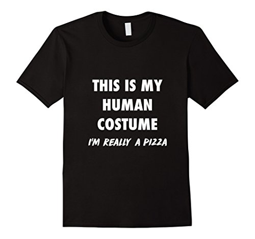 Men In Black Costume Diy (Mens Human Costume, I'm Really A Pizza DIY Halloween Costume Gift Medium Black)