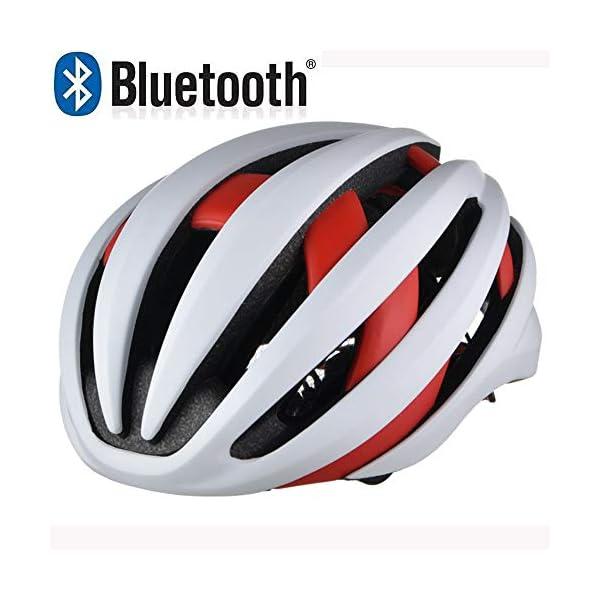 EDW Casco Bluetooth Intelligente per Bici Musica Chiamata Intelligence Cappellino di Sicurezza Equipaggiamento Protettivo Antiurto Leggero 5 Colori Incluso fanale Posteriore Staccabile,Whitered 1 spesavip