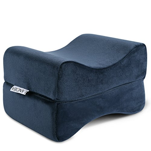 LANGRIA Knee Pillow Memory Foam Leg Pillows for Leg, Back, Hip Pain Relief, Foldable and Antibacterial Design with Removable Cover, CertiPUR-US Certified, (9.8 x 5.9 x 7.0 inches) Navy Blue by LANGRIA (Image #1)