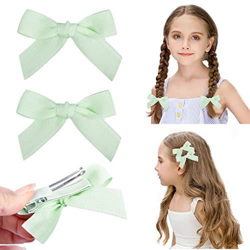 DEEKA 2 Pack Hair Clip Hair Bows Fringe Clip for Little Girls - Solid Pastel Green ()