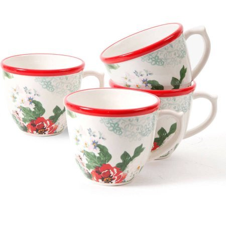 Flower Garden Coffee Cup (17oz Country Garden Decorated Coffee Cups, Set of 4)