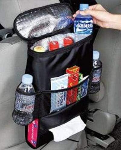 PVC Free Kids Toy Storage Car Back Seat Organiser Bottle Drinks Holder with Tissue Box Multi-Pocket Hanging Heat Preservation Cooler Bag for Smaller Size iPad,More Pockets