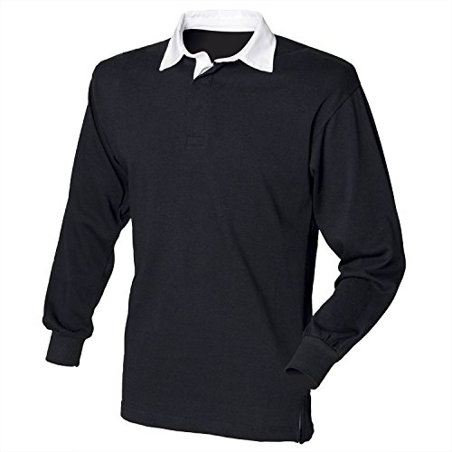 Front Row Long Sleeve Classic Rugby Shirt, 14 colours, Small t - Black/White - L